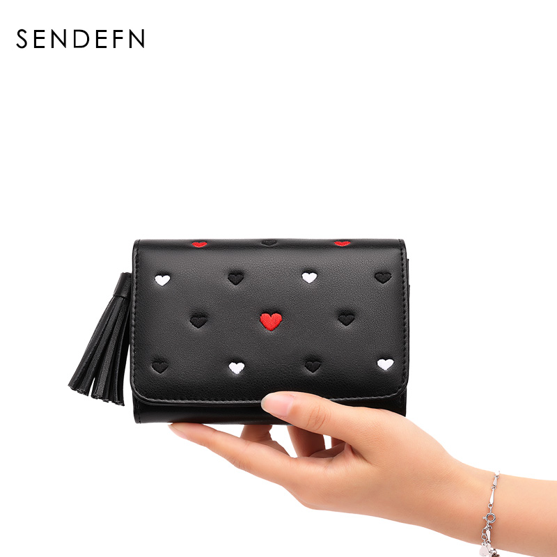 Short Women Wallets Young Lady Leather Purse 2018 New SENDEFN Gril Small Wallet Female Coin Purses For Card Holder Black