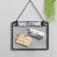American creative retro grid note board photo wall decoration background wall wrought iron grid wall hanging iron frame clip com