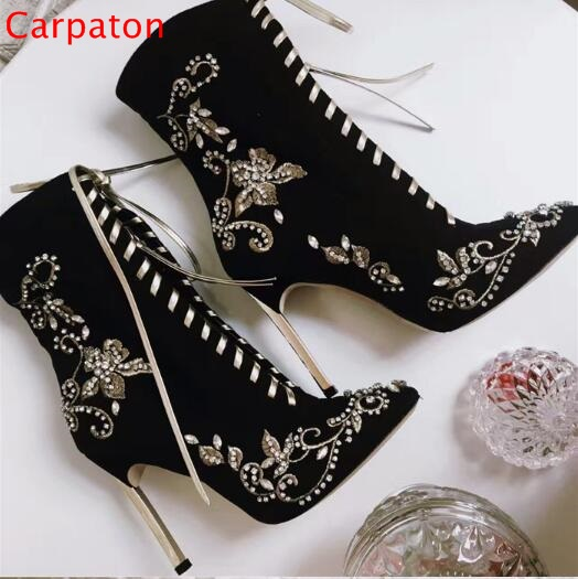 Crystal Flowers Decor Metal Heels Pointed Toe Ankle Boots Sexy Lace Up Leather Stiletto Shoes Flock Flora Thin High Heels Boots