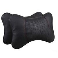 Genuine Leather Car Seat Neck Pillows Cushion Protection Neck Auto Headrest Pillow Universal Car Safty Pillows