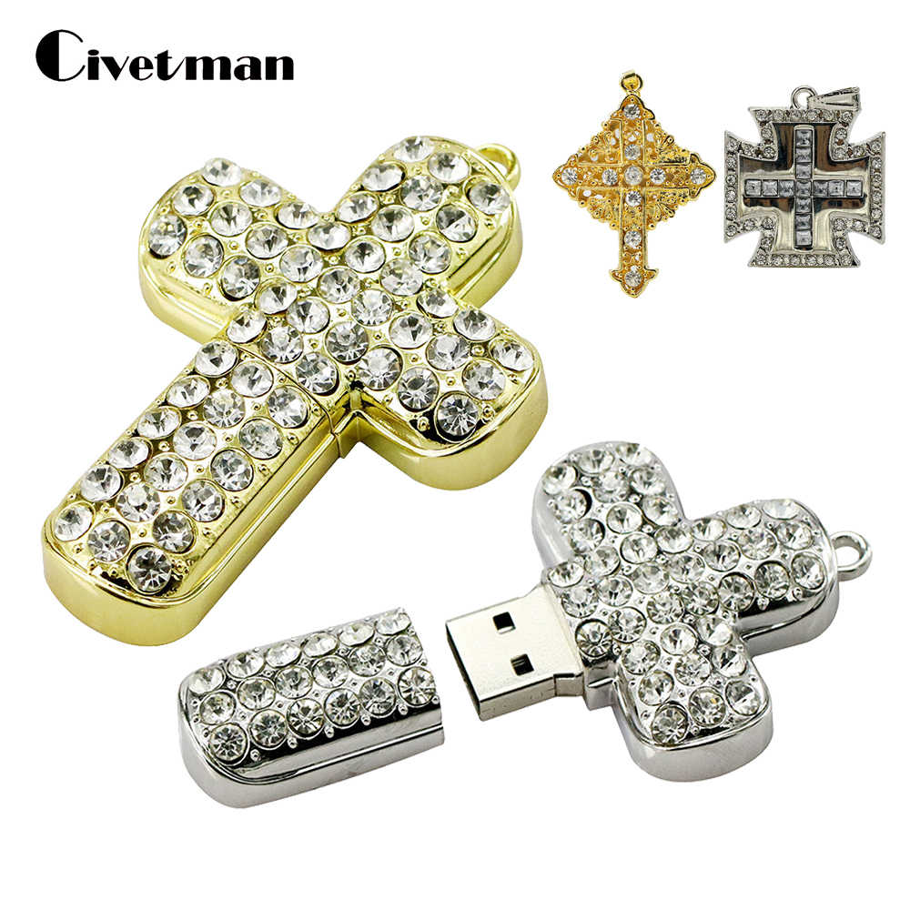 Crystal Metal Necklace Cross USB Flash Drive 8GB 16GB 32GB 64GB Pendrive Pen Drive USB 2.0 Flash Memory Stick Personalized Gift