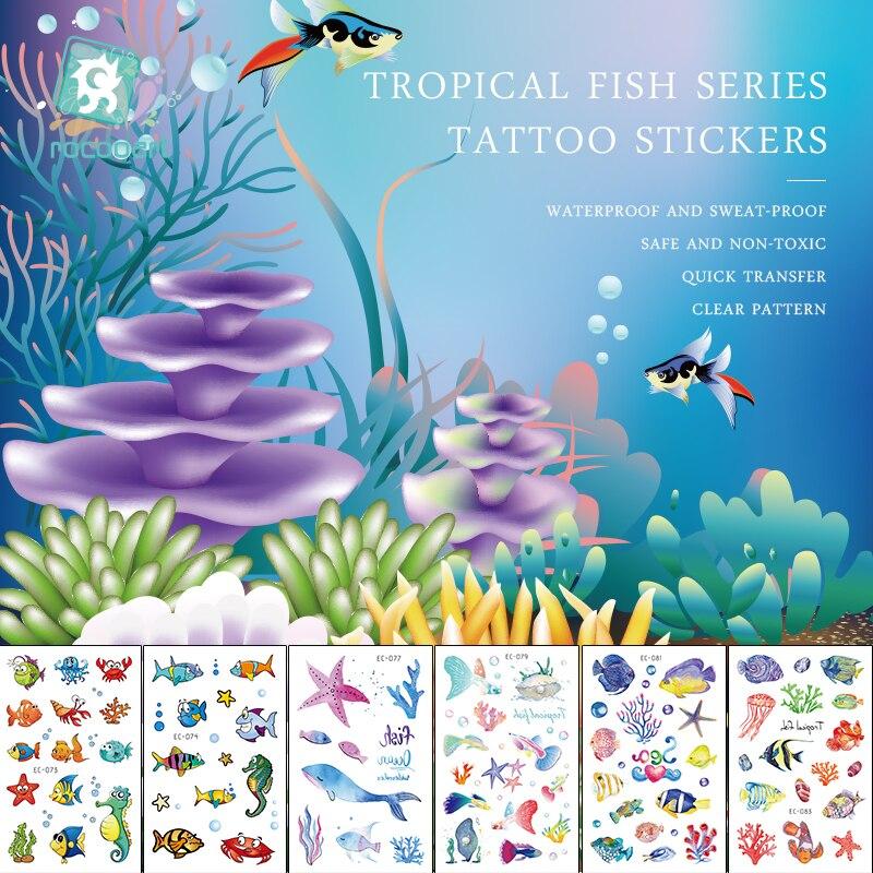 Rocooart Tropical Fish Temporary Tattoo Sticker Waterproof Chirdren Tatouage Cartoon Fake Tatoo For Kids Body Art Tatuagem Ocean