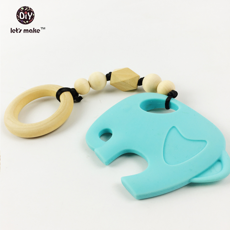 Let's make silicone teether organic wood teething ring baby holder elephant toys nursing Rattles infant carrier teether