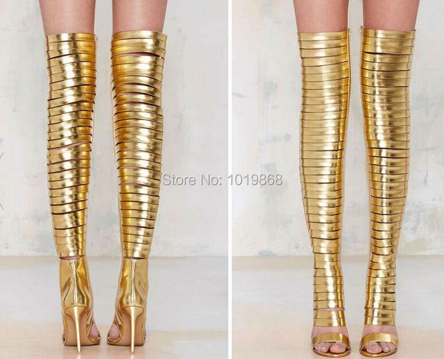 f7eaaf42ec5 Brand Design Sexy Slim Tight Gladiator Boots Gold Blinded Thigh High Heels  Strap Deep Toe Stiletto Heel