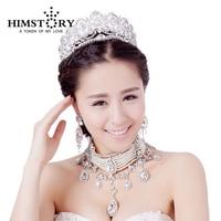 Luxury Jewelry Necklace Earrings Tiaras Crown 3PCS Roses Gold/Silver Bride Jewelry Set Large Teardrop Crystal Pearl jewelry set