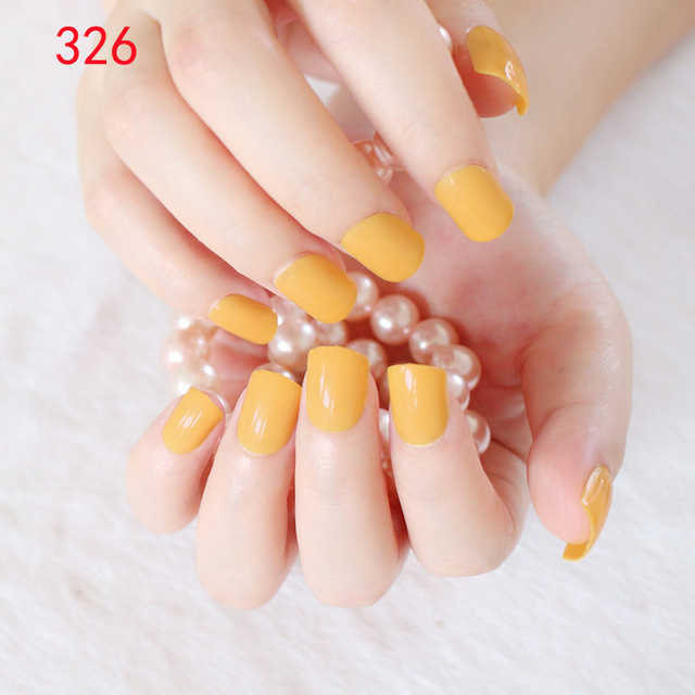 Pretty False Nail Tips Egg Yolk Yellow Fake Nails Acrylic Nails ...