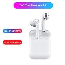 лучшая цена i12 TWS Mini True Wireless Bluetooth Earbud Touch Earphone with Charging Box Mic for iphone 7 8 X XS android Samsung Earphones