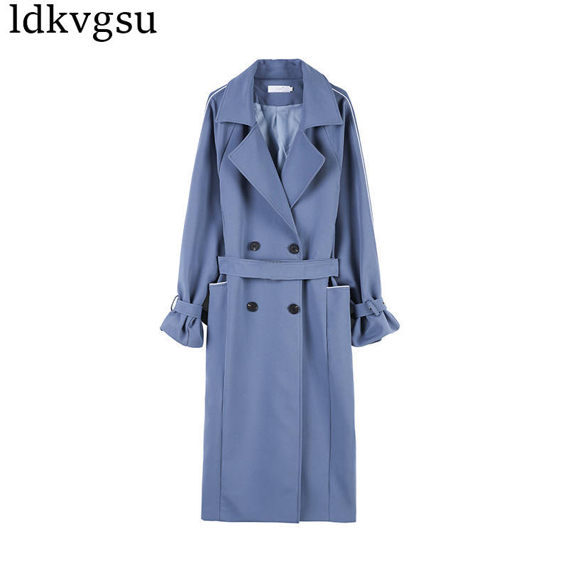 Fashion Black Long   Trench   Coat Women Casual Abrigos Mujer Slim Double Breasted Windbreaker Elegant Outerwear   Trench   Coat V334