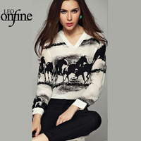 Onfine Leo Women Long Sleeve Casual Black Horse White Shirt Chiffon Tops Blouse Free Shipping Wholesales