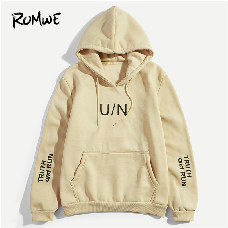Romwe Males Khaki Letter Print Pocket Hoodie Sweatshirt Mankind Autumn Informal Lengthy Sleeve Male Clothes Mens 2018 Hooded Pullovers