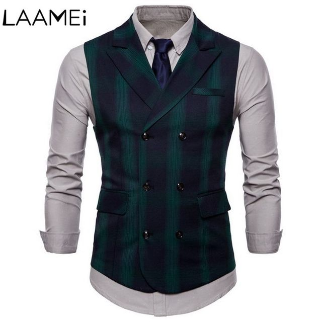 Laamei Spring And Autumn Double-breasted Plaid Men's Vest  British Wind Double Pocket Suit Lapel Large Size Men's Vest