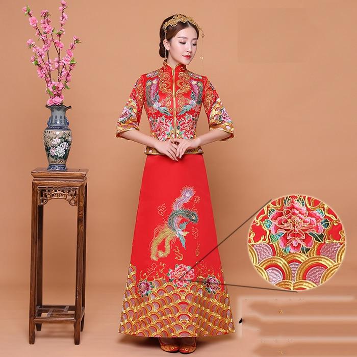 Exquisite Embroidery Phoenix Women Trailing Marriage Cheongsam Hat Sale Half Sleeve Qipao Vintage Wedding Bride Dress Vestidos