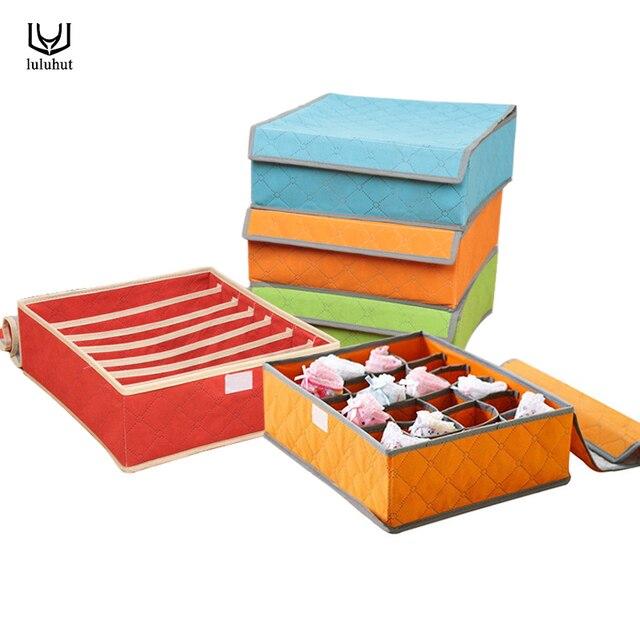 luluhut underwear organization Non-woven foldable storage box for bra socks underwear storage various grid home organizer