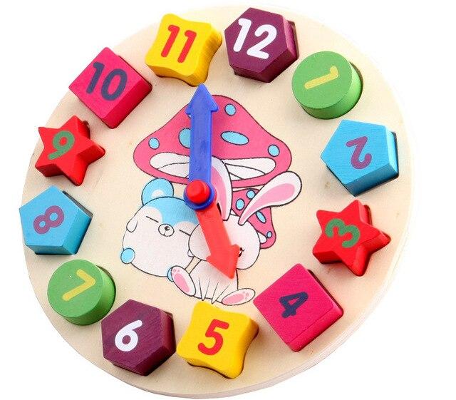 Bebés y Niños Niños Educación Puzzle Juguetes De Madera Geometría Reloj Digital de Madera de Juguete Rompecabezas de Apilamiento Juguetes Al Por Mayor