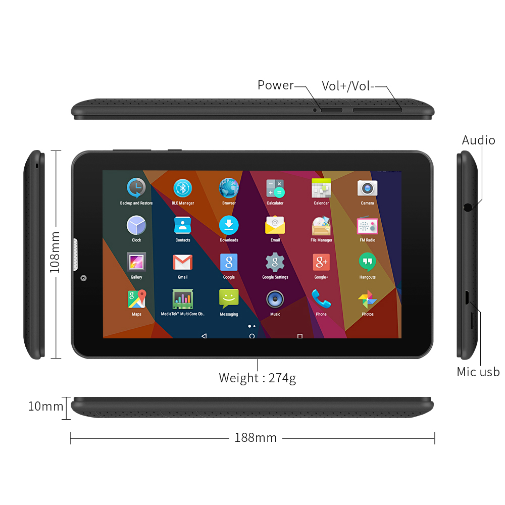 Yuntab 2colors 7 inch 3g E706 Android 5.1 Tablet Quad Core Capacitive screen 1024*600 with Dual Camera support SIM card