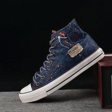2019 Young Men Denim Shoes Men Casual Shoes Breathable High