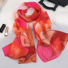 Fashion Chiffon Scarf Women Lotus Printing Long Soft Wrap Lady Shawl Scarves Slik Ladies For Summer