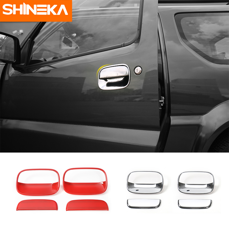 SHINEKA Car Styling Exterior Door Handle Bowls Decorative Cover Trim Sticker for Suzuki Jimny 2007+ Car Accessories