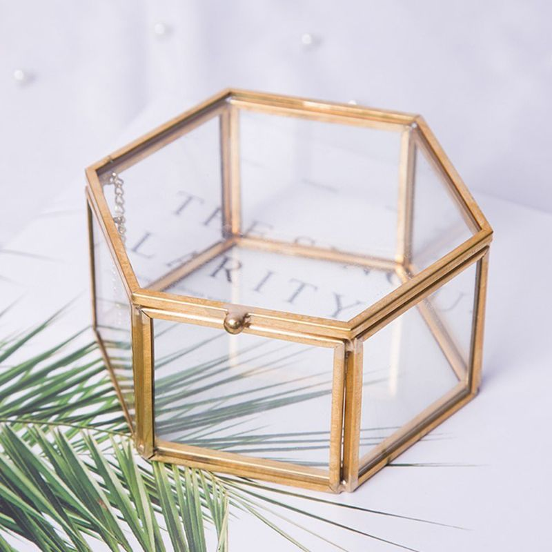 Geometrical Clear Glass Jewelry Box Jewelry Organize Holder Tabletop Succulent Plants Container Home Jewelry Storage