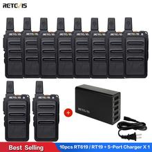 10pcs RETEVIS RT619 RT19 Walkie Talkie PMR Radio PMR446 FRS VOX Scrambler Two Way Radio Comunicador Transceiver   5-Port Charger