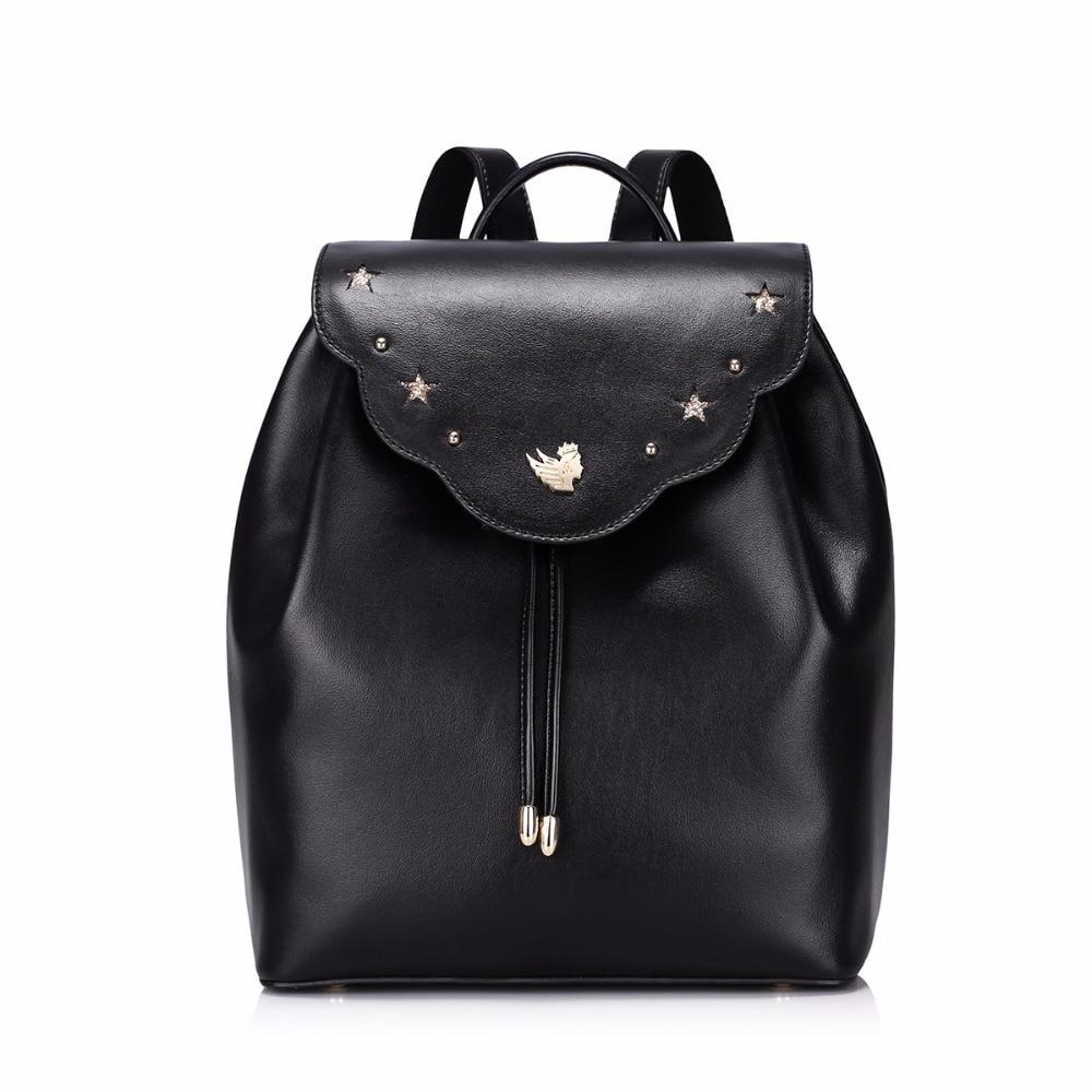 ФОТО Hot Sale Fashion Casual Rivet Stars Drawstring PU Leather Women Lady Backpacks Daypacks School Shoulders Bag for Girl's Gift