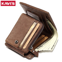KAVIS Trifold Design Card Holder Genuine Leather Wallet Men Male Coin Purse Small Portomonee PORTFOLIO Clamp
