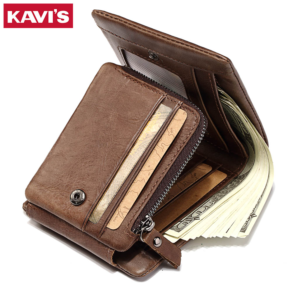 KAVIS Trifold Design Card Holder Genuine Leather Wallet Men Male Coin Purse Small Portomonee PORTFOLIO Clamp for Money Bag Perse kavis genuine leather wallet men coin purse with card holder male pocket money bag portomonee small walet portfolio for perse