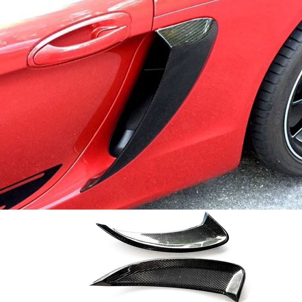 Carbon Fiber Side Vents Side Air Intakes Vents Fit For Porsche <font><b>718</b></font> <font><b>Boxster</b></font> Cayman 2016-2018 GT4 Style image