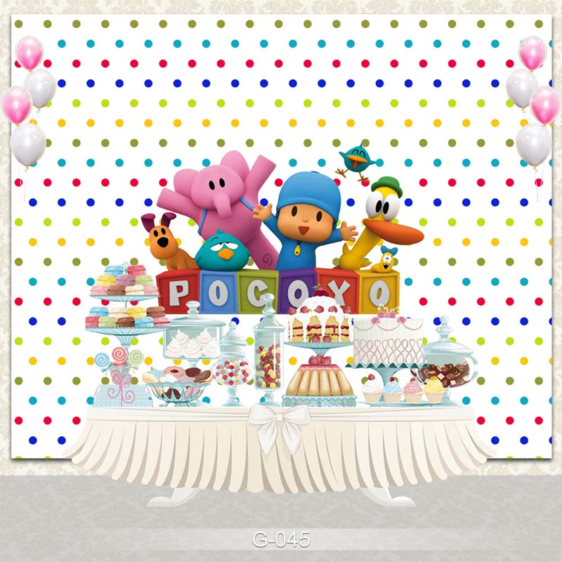 Vinyl Photography Backdrop Cartoon Characters Pocoyo Birthday Party Baby Shower Children Photo Backdgrounds for Studio G-045 faro dmc 420 white