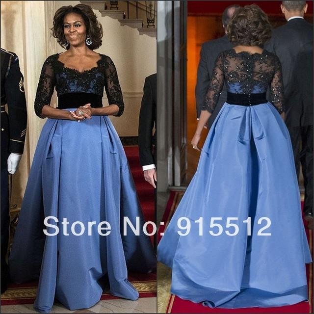 f4a98d7ff86c9 Michelle Obama Celebrity Dress Two Tone Elegant Ball Gown Scoop Neckline  Empire Waist Lace Top Half Sleeve Dress