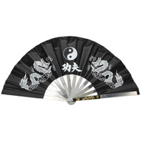 New Chinese Kung Fu Fan Martial Arts Tai Chi Stainless Steel Fan Dragon Black Free Shipping