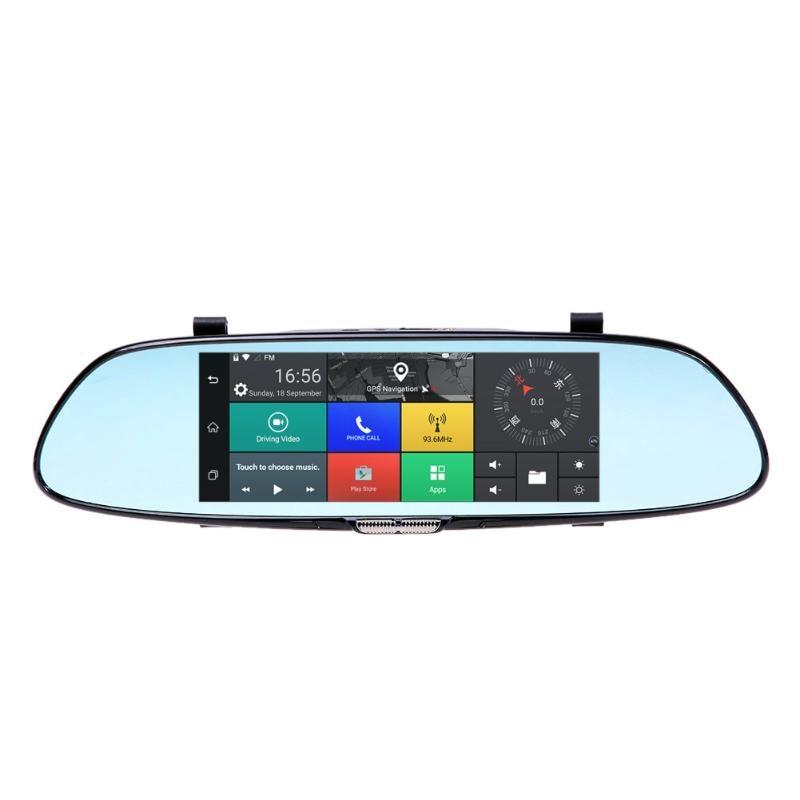 VODOOL HD 1080P Car DVR Camera Auto 7 Inch Rearview Mirror Digital Video Recorder Dual Lens Registratory Camcorder 6000a 1080p 3 0mp 720p 1 3mp car dvr camcorder w 4 3 tft rearview mirror monitor black