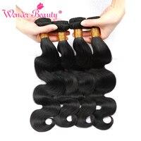 Wonder Beauty Human Hair Extensions Brazilian Body Wave 4 Bundles deal Mixed Length Hair Weave Natural Black Machine Double Weft