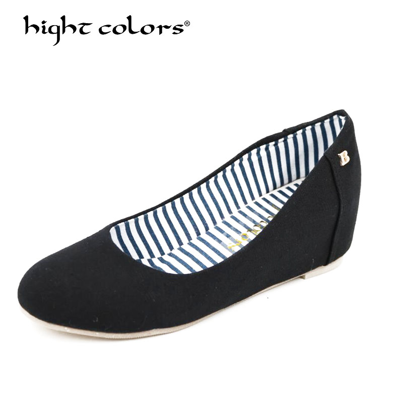 New Canvas Shoes Women's Height lncreasing Flat Shoes For Women Round Toe Slip On Ballet Loafer Work Shoes Zapatos Mujer sweet women high quality bowtie pointed toe flock flat shoes women casual summer ladies slip on casual zapatos mujer bt123