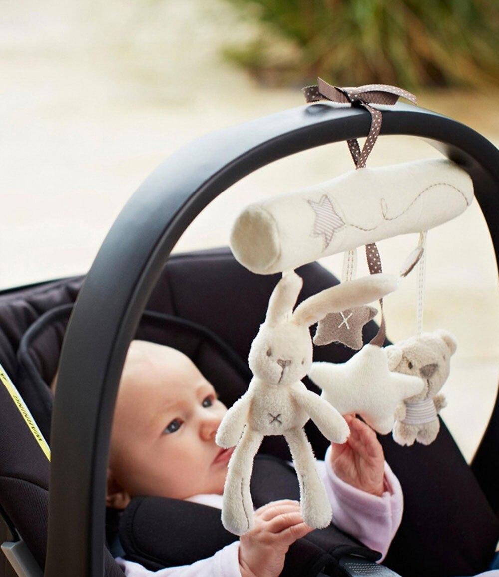 Multifunkcionális aranyos nyúl plüss játék babák babakocsi lógó zenei medál aranyos újszülött állat babák csörgő babakocsi