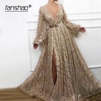 Gold Evening Dresses Sequins Lace Long Sleeves Lantern Slit Dubai Saudi Arabic Evening Gown Deep V Neck Prom Dress With Belt