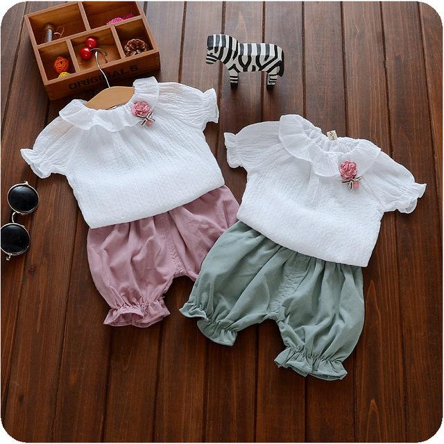 Nuevo 2016 del bebé del verano traje turn down collar blusa + pant 2 unids niño ropa niña linda establece infantes niñas establece para pijamas recién nacidos