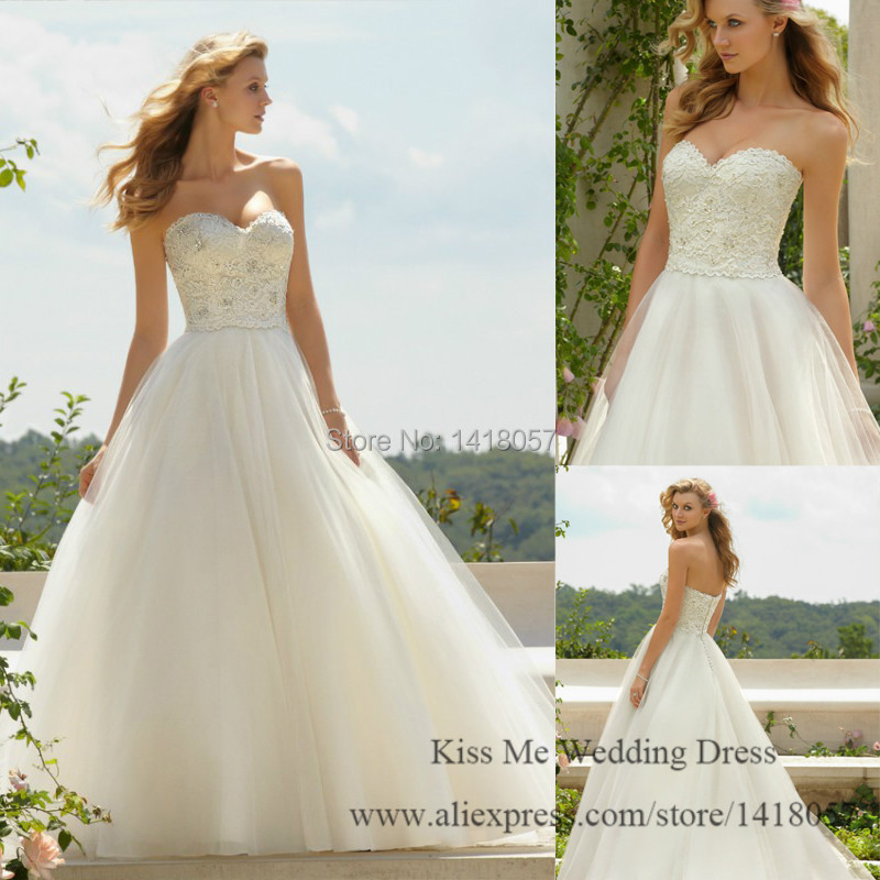 Simple White Wedding Gown: 2015 Simple White Wedding Dress Lace Corset Bridal Gown