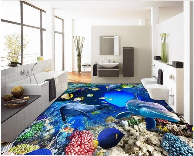 3d vloeren custom custom pvc 3d badkamer vloeren materiaal onderwater wereld cave coral grote tekening 3d