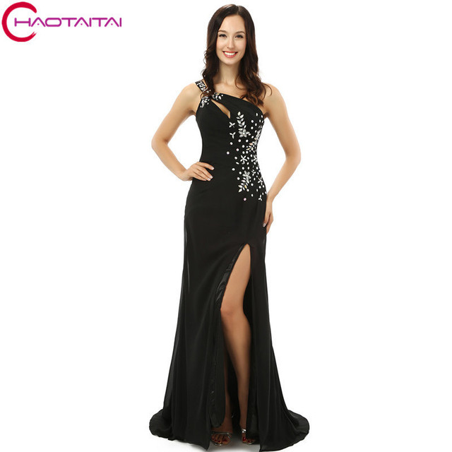 New Court Train Black One Shoulder Side Y Women Formal Gowns Long Sequins Beaded Evening