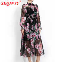 SEQINYY Chiffon Dress Pink Rose Flowers Sexy 2018 Summer New Fashion Runway Women's Lantern Sleeve Black Loose Beach Dress