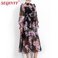 SEQINYY Chiffon Dress Pink Rose Flowers Sexy 2018 Summer New Fashion Runway Women's Lantern Sleeve Black Loose Beach Dress
