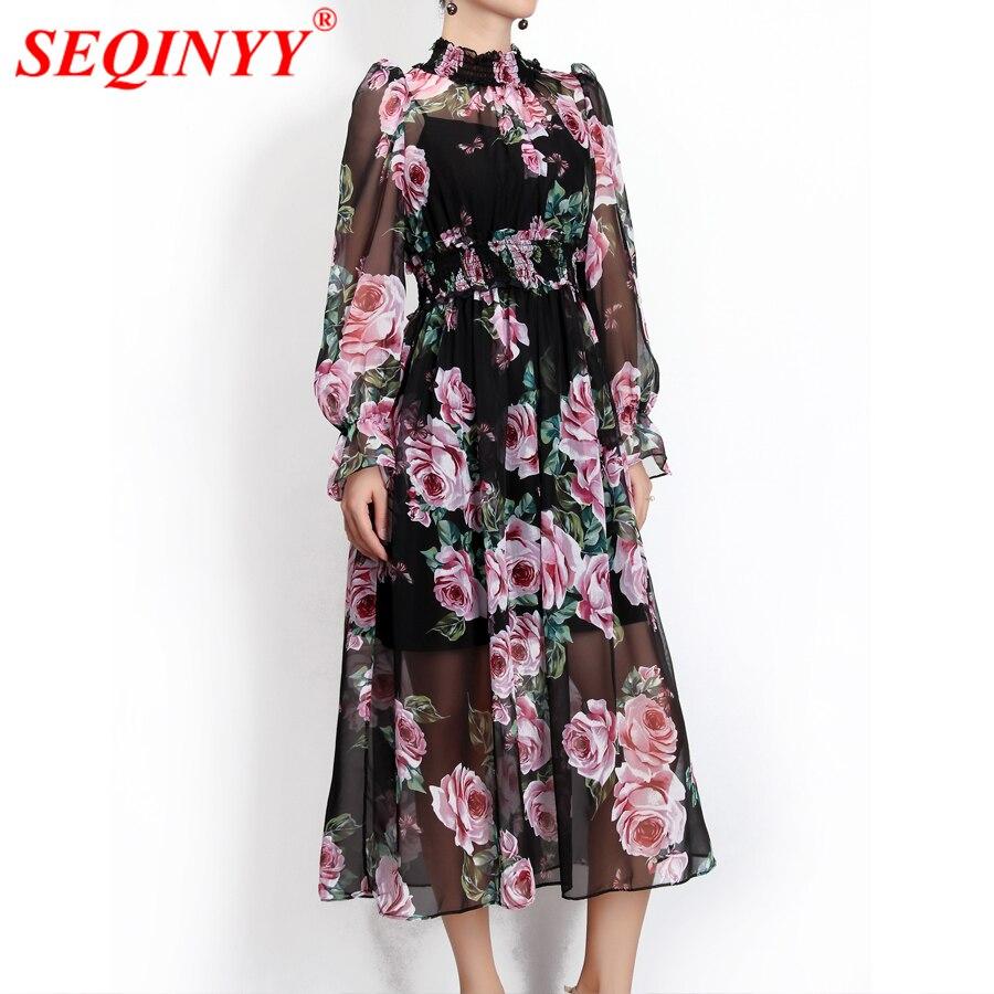 SEQINYY robe en mousseline de soie Rose fleurs Sexy 2018 été nouvelle mode piste femmes lanterne manches noir lâche robe de plage