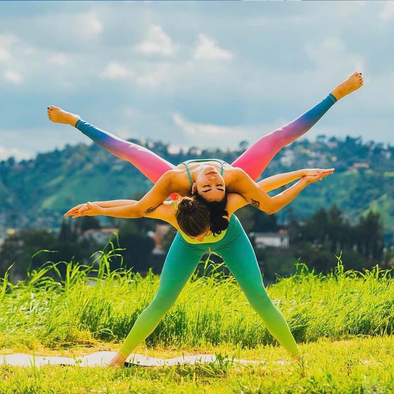 Fashion Women Gradient Color Leggings High Waist Pants Push Up Activewear Fitness Slim Leggings Casual Sportswear female pants