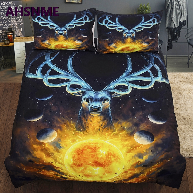 AHSNME Summer Special Offer 3D Effect Painted Elk Cover Set Bedding Set Handmade Art Pattern King Queen Bed Set