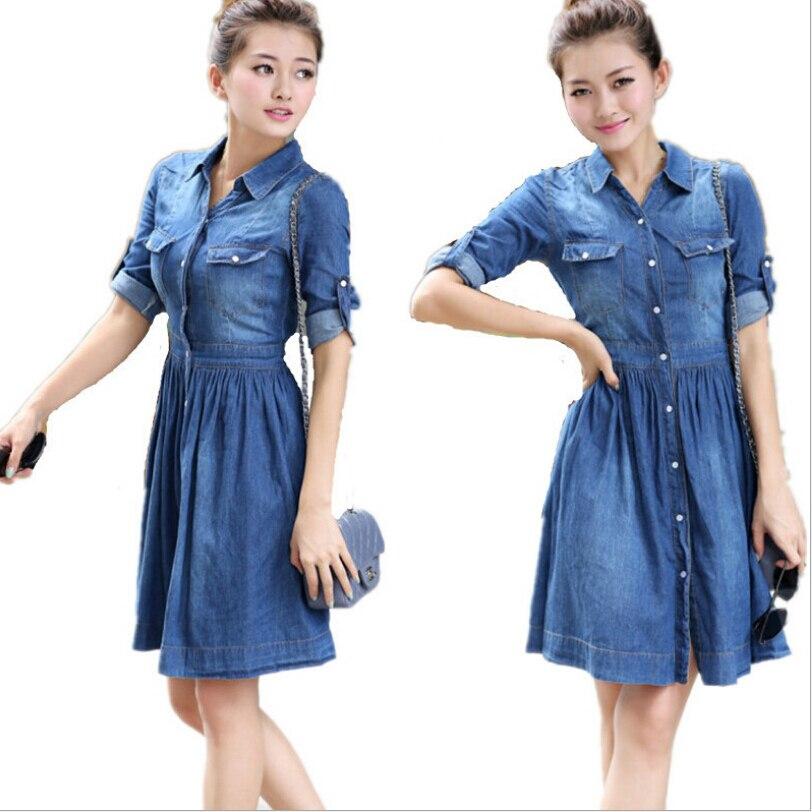 Women Summer Casual Denim Dresses Plus Size Vintage Fashion Long -Sleeve  Dress Banding Denim Dress Vestidos S-4XL d35b43cda