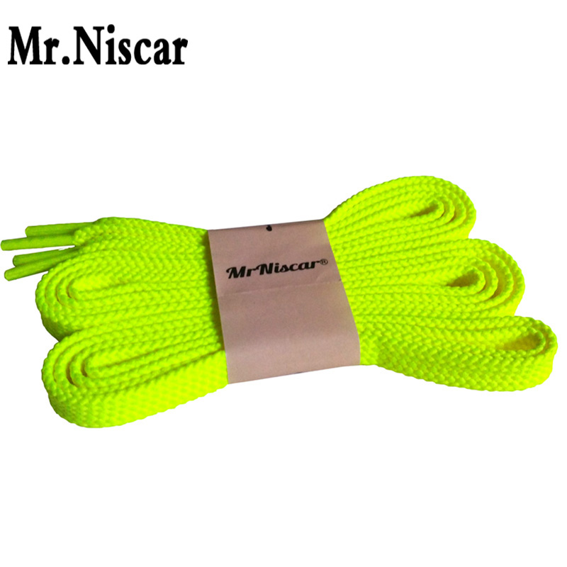 Mr.Niscar 1 Pair Fluorescent Yellow Flat Shoelaces for Men Women Casual Canvas Shoes Brand Shoelace Sneaker Shoe Laces Strings e lov women casual walking shoes graffiti aries horoscope canvas shoe low top flat oxford shoes for couples lovers