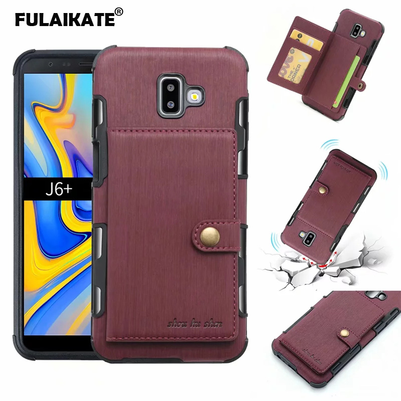 FULAIKATE Drawing Cloth Case for Samsung Galaxy J4 J6 Plus Matte Card Pocket Back Cover J8 2018 Phone Protective Cases