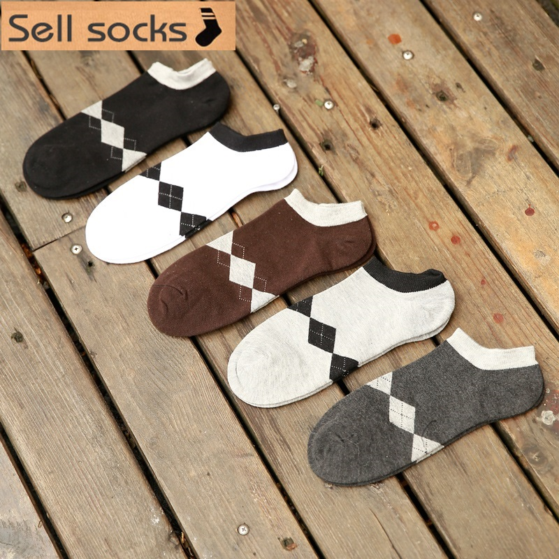 new summer Small rhombus black white basic 5 colors man Casual ankle cotton socks men boat sock slippers harajuku EUR39-44