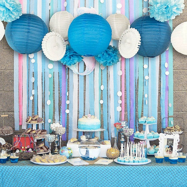 set of 13 blue pink beach themed party under the sea party